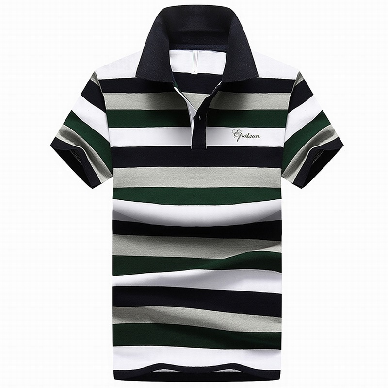 92/% Cotton camisa Men Polo Shirt  2015 Casual Striped Slim short sleeves ASIAN