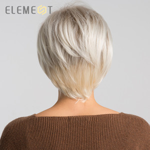 Image 4 - ELEMENT 6 Inch Short Synthetic Wig for Women Left Side Parting Ombre Gray to White High Temperature Replacement Hair Wigs
