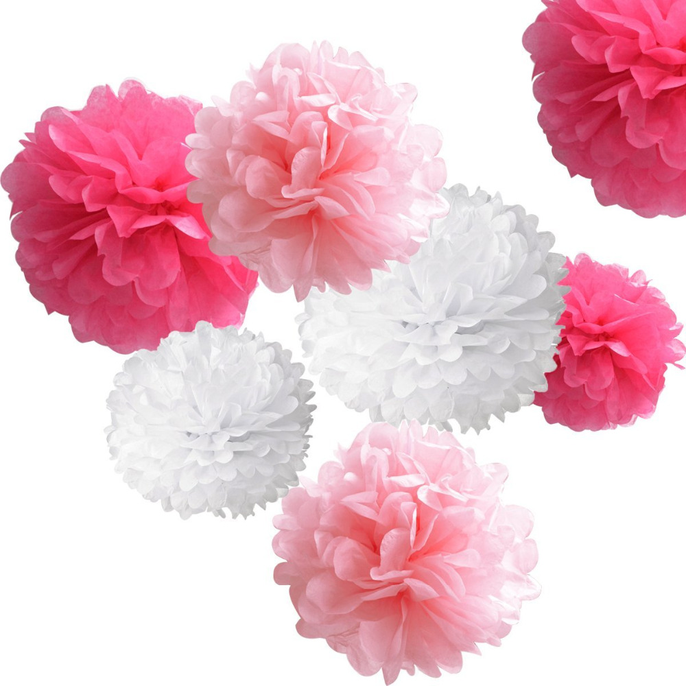 18pcs Tissue Hanging Paper Pom Poms Flower Ball Wedding Party