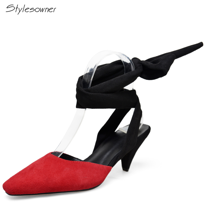 Stylesowner 2018 New Fashion Open Back Lace Riband High Heel Pumps Spike Heels Shoes Shallow Sexy Name Brand Summer Pumps HeelsStylesowner 2018 New Fashion Open Back Lace Riband High Heel Pumps Spike Heels Shoes Shallow Sexy Name Brand Summer Pumps Heels