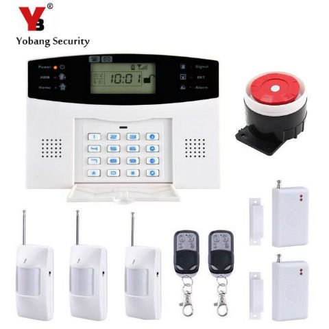 YobangSecurity  Russian French Italian Wireless GSM Alarm System LCD Keyboard Door Window PIR Alarm Sensors for Home Security russian phrase book