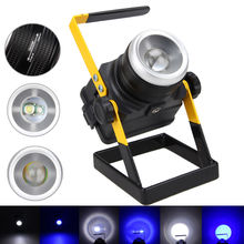 Portable 3000LM XML T6 LED WHITE+BLUE Zoomable Spotlight Flood Light 18650+AC(China)