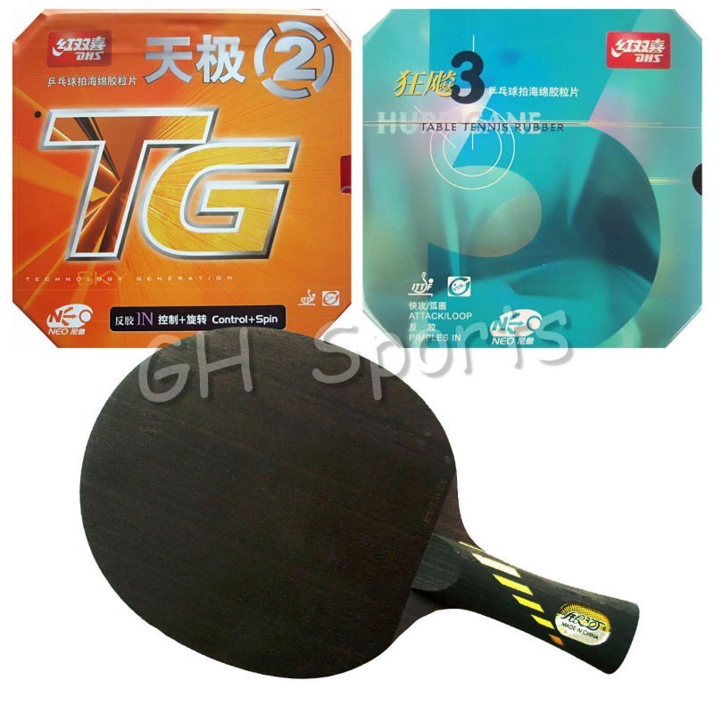 Pro Table Tennis PingPong Combo Racket YINHE Galaxy MC-2 with DHS NEO Hurricane 3 and NEO Skyline TG2 shakehand long handle FL neo pro