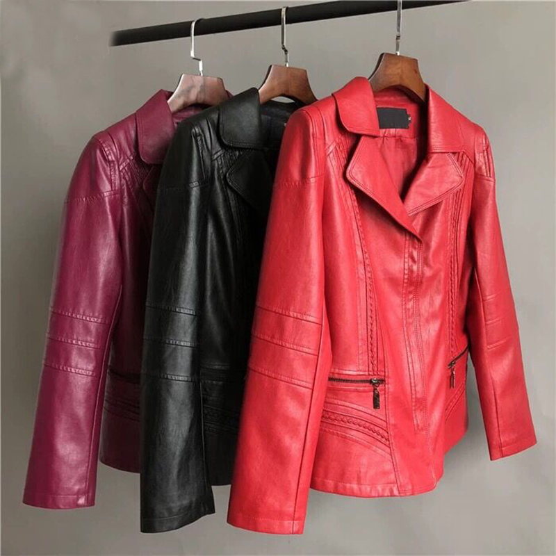 SWREDMI Plus Size L-5XL Women's   Leather   Jacket 2019 New Autumn And Winter Female Jacket   Leather   Coat Slim   Leather   Clothing Tops