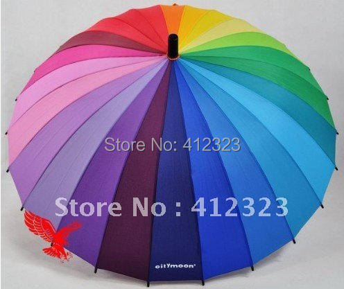 Top Quality 2014 new Long handle rainbow Straight umbrella rain umbrellas paraso Citymoon 24k