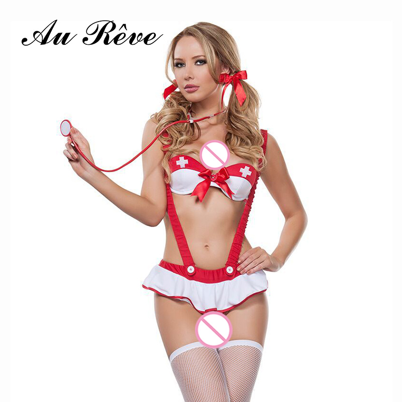 Buy New Christmas Nurse Cosplay Uniform Lingerie Women Temptation Sleepwear Costumes Role-playing Games Red Bow Babydolls