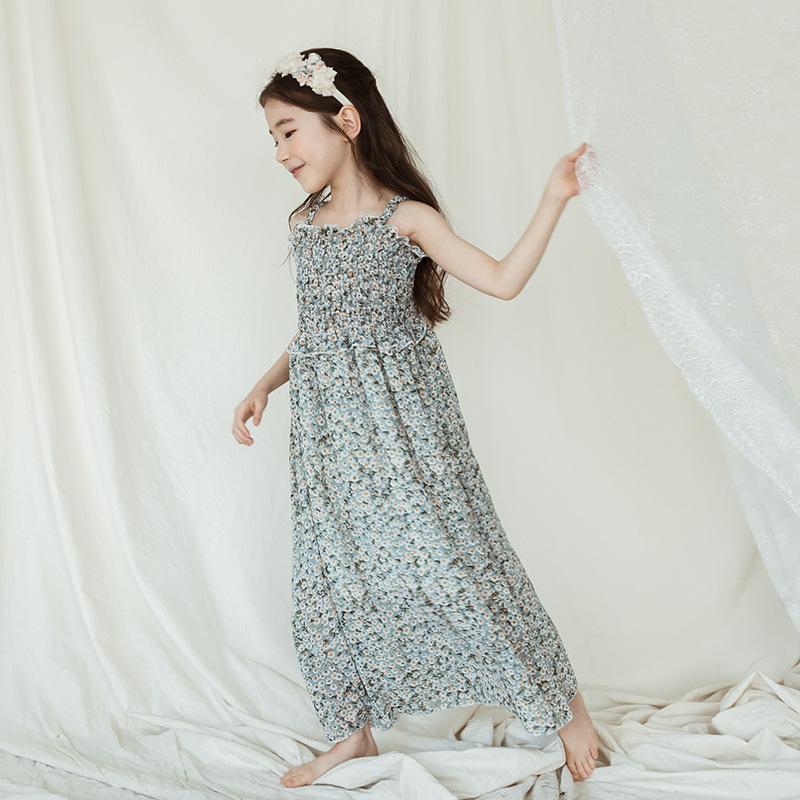 852121730 Floral Chiffon Girls Long Dress Girls Cold Shoulder Ruffled Dresses Loose Short  Sleeve Teen Girls Clothes Beach Dress-in Dresses from Mother & Kids on ...