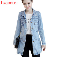 LKGHULO 5XL Plus Size Women Denim Slim Coat Jean Jackets Casual Women Long Coat Single Breasted Overcoats Camperas Mujer A121