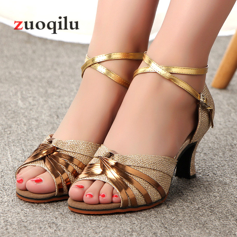 High Heels Women Shoes Ladies Dance Gold Silver Low heel Shoes Women Pumps Wedding Party shoes woman sandals Chaussures Femme high heels