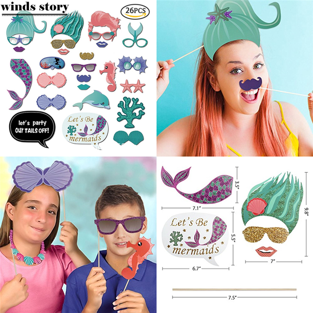 26pc Party Photo Booth Props Mermaid Weeding Party Decoration Portable DIY  Paper Fifsh PhotoBooth Kid Birthday Party Decoration-in Photobooth Props