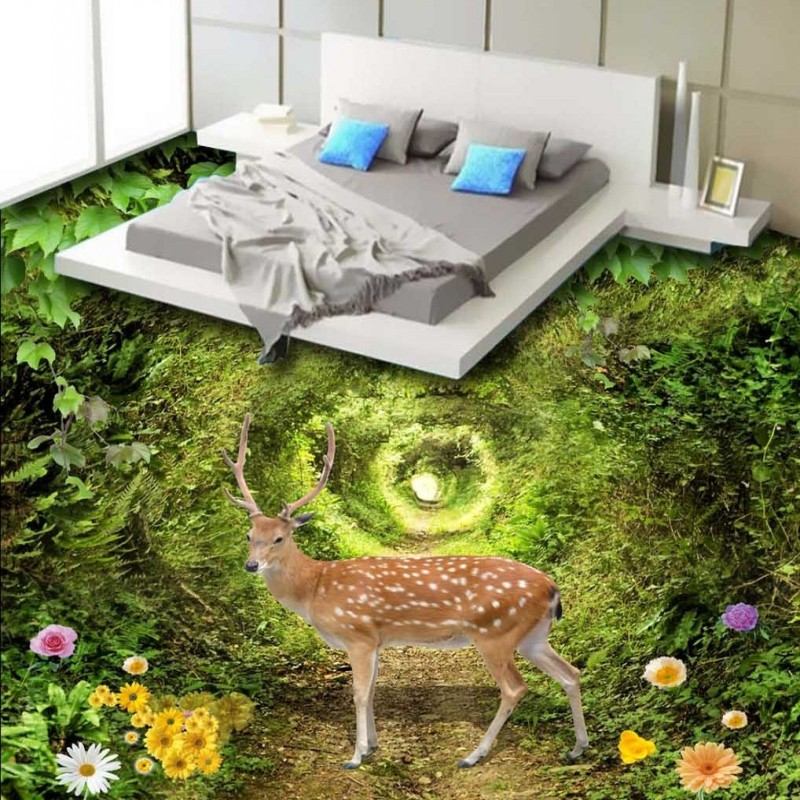 Free Shipping Beautiful green forest deer 3D stereo custom flooring shopping mall Self-adhesive wallpaper mural free shipping 15 china bronze sculpture carved feng shui copper beautiful sika deer statue