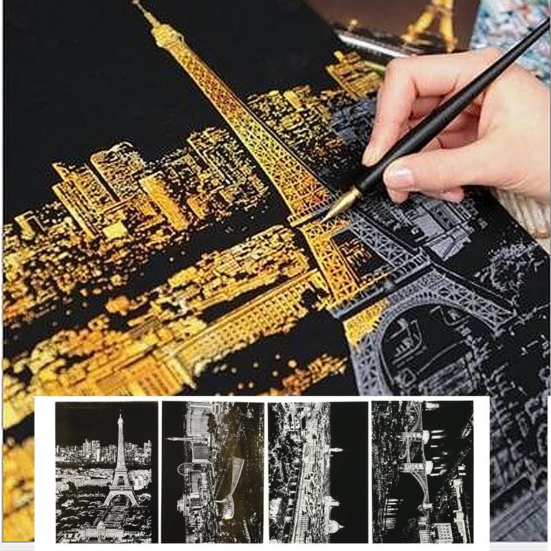 4pc/lot City View Scratch Paper Art Painting London Las Vegas Casino Florence Paris Drawing Paper For Kids Toys Coloring Books