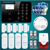 HOMSECUR Wireless 4G GSM LCD Burglar Intruder Alarm System Multi Languages Menu Smoke Detector