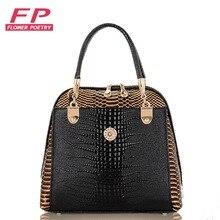 2016 frauen Handtasche PU Crocodile Leder Umhängetaschen Marke Tote Mode Frauen Messenger Bags Kupplung Umhängetasche Taschen hand