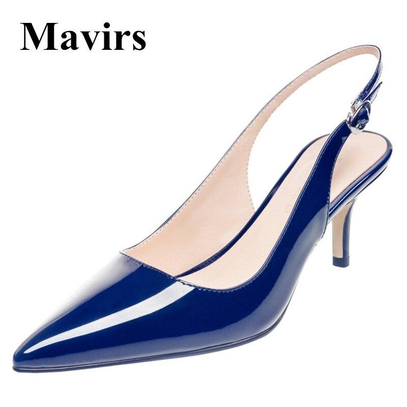 MAVIRS 2017 Pointed Toe Navy Blue Patent Patent Stilettos Women Pumps Dress Bride Shoes 6.5 CM Low Heel US Size 5 - 15