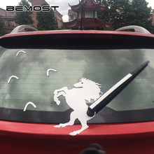 BEMOST Car Styling Hot Sales Cartoon Reflective Leaping Horse Moving Tail Stickers Animals Rear windshield Wiper Decals