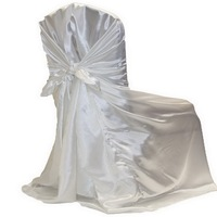 100pcs White Satin Back Self tie Chair Cover,White Satin Universal Chair Cover for Wedding Events &Party Decoration