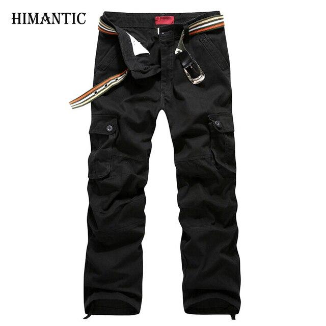 8f9df70b1f Men Cargo Pants Military Army Pant 100% Cotton Khaki Green Brown Black Plus  Size 30-44 mens Long trousers