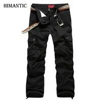 Men Cargo Pants Military Army Pant 100% Cotton Khaki/Green/Brown/Black Plus Size 30-44 mens Long trousers
