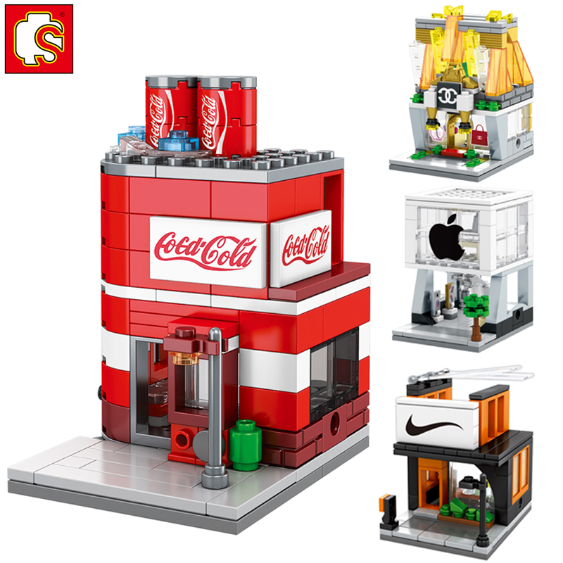 Sembo compatible LegoINGlys city mini Street View Building blocks Famous clothes Drinks Handbag Shop brick toys gift city architecture mini street scene view reims cathedral police headquarters library fire departmen building blocks sets toys