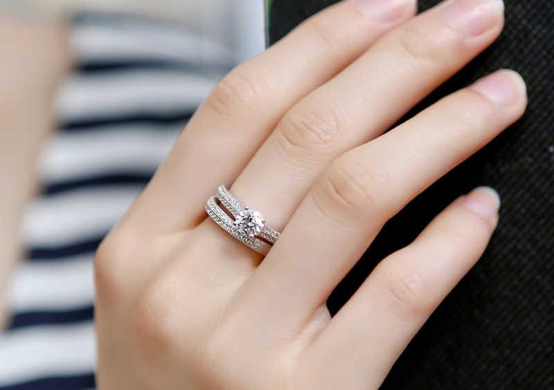 Certificado de prata enviado! Original sólido 925 prata anéis de casamento conjunto para feminino zircão cúbico anéis definir charme jóias finas kpr131