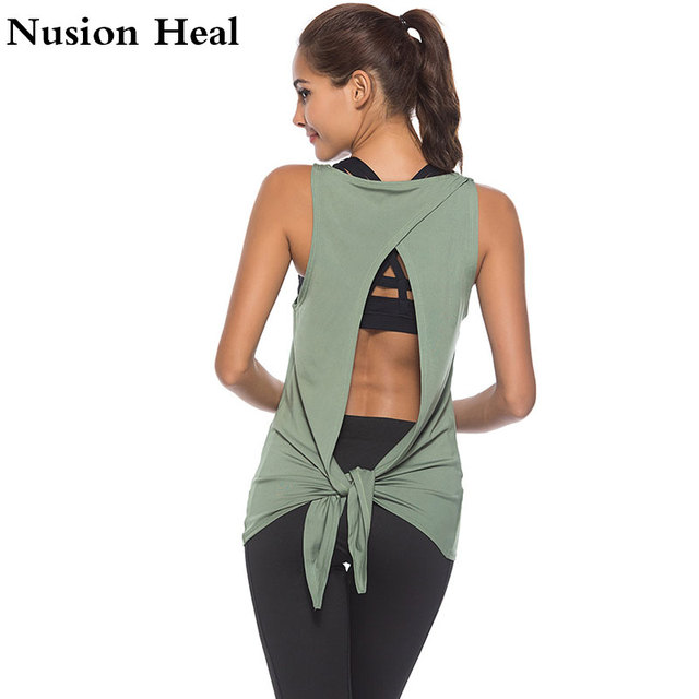 076d50bd8b 2018 New Women Sports Yoga Tank Tops Dry Quick Yoga Shirts Loose Gym  Fitness Sport Sleeveless Vest Singlet For Running Training