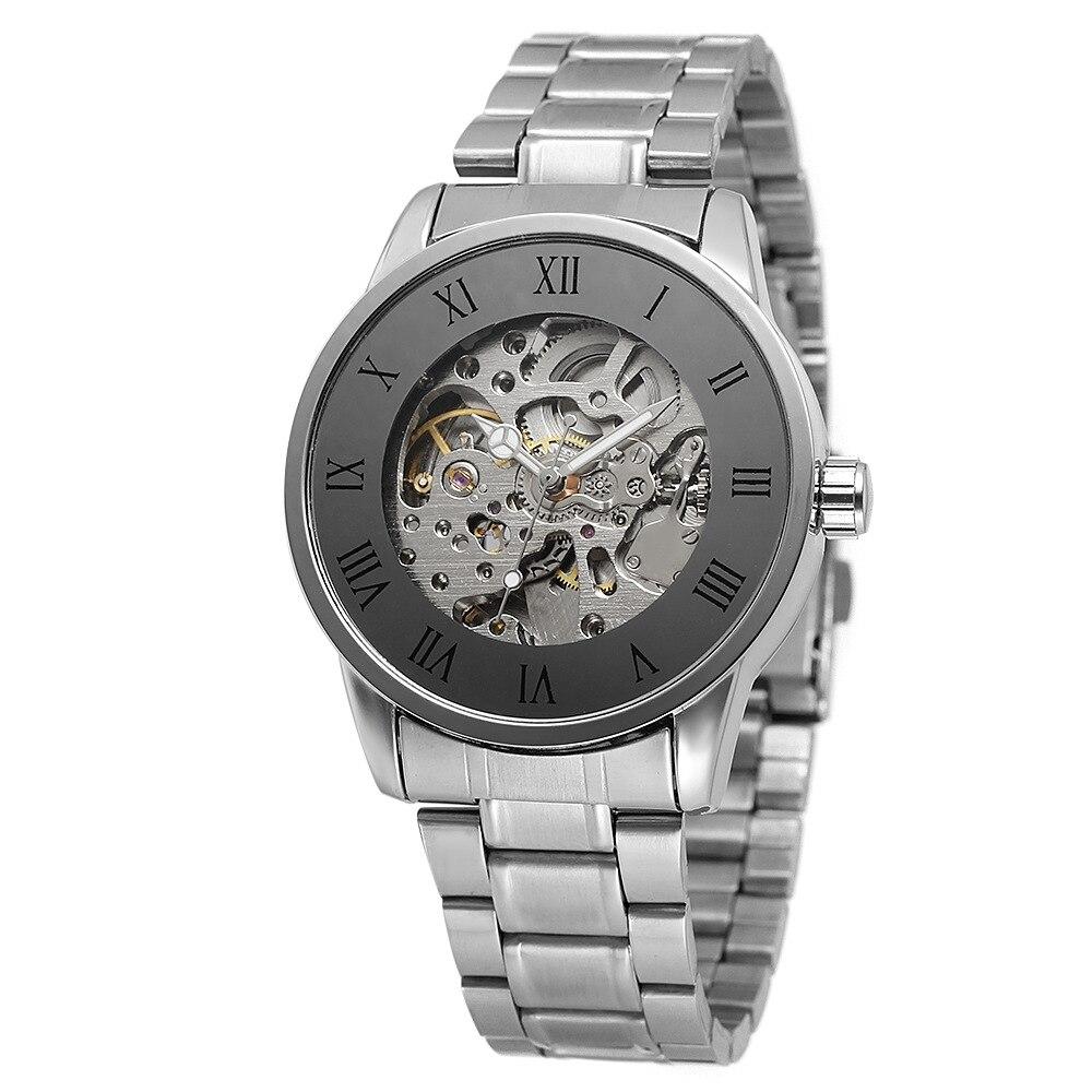 Luxury Brand WINNER Men Mechanical Watches Famous Skeleton Black Wristwatches Stainless Steel Band reloj hombre Clock Men Montre