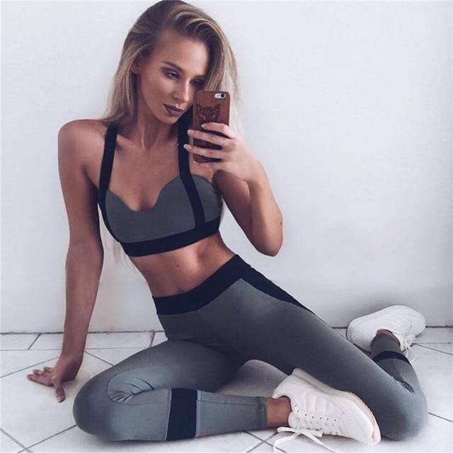 f6d145905b Nuevo conjunto de Yoga para mujer ajustado Fitness trajes de secado rápido  elástico ropa deportiva para