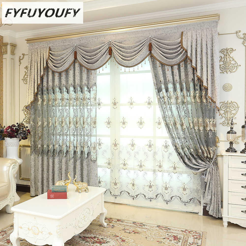 High grade European elegant Embroidered curtain and Kitchen curtain for  Living Room French Windows curtains can Customized