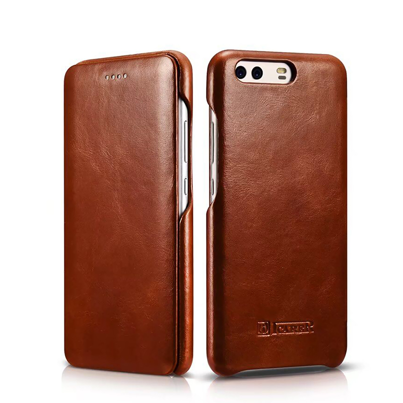P10 Plus Icarer Curved Edge Vintage Flip Back Cover Cases For Huawei P10 P10 Plus Cowhide
