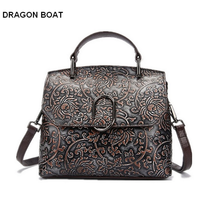 luxury brand 100% Genuine Leather Women Bags Vintage Design Female Embossed Flower Handbag Classic Small Tote Bags High Quality new vintage luxury brand design 100