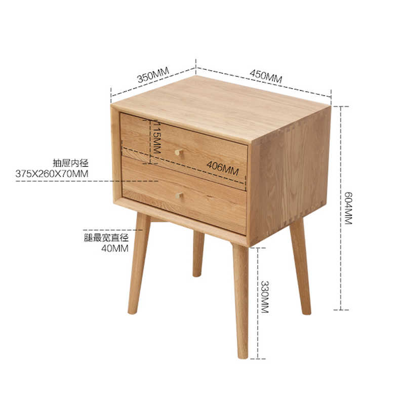 Louis Fashion Coffee Tables Simple Bedside Cabinet White Oak Solid Wood  Bedroom Storage  Small Bucket  Modern Furniture
