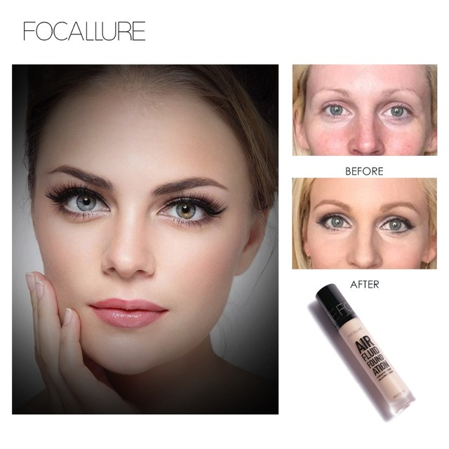 FOCALLURE New AIR FLUID FOUNDATION Moisturizing Natural Foundation Base Long Lasting Waterproof Women Makeup 3