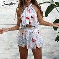 Simplee Flower print chiffon elegant jumpsuit romper Ruffle halter summer beach playsuit Sexy sleeveless short women overalls