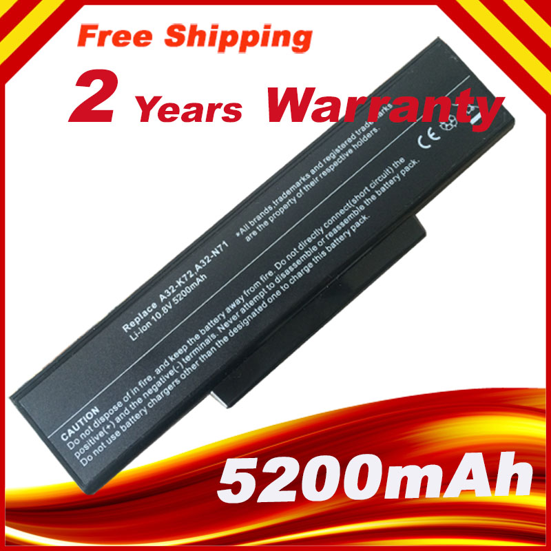 New 5200MAh 6cell Laptop Battery for ASUS N73V X77 X77J X77V K73J K73S N71 N71J N71V N71YI N73 N73F N73G N73J N73Q N73S