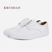 KRUSDAN New Casual White Mes Handmade Genuine Sneakers Leather Flats Lace Up Vulcanize Wedding Shoes Men's Breathable Zapatillas
