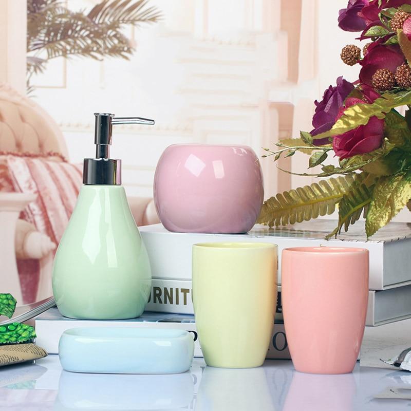 5 pièces haute qualité en céramique salle de bains ensemble mode brosse à dents ensemble électrique porte-brosse à dents maison salle de bains décoration accessoires