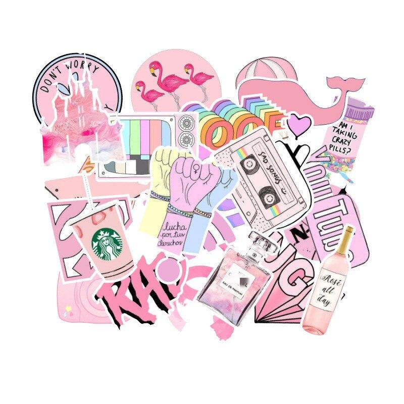 53 Pcs/lot Fashion Light Pink Ladies Girls PVC Graffiti Stickers Toys Decor For Car Laptop Pad Phone Trunk Guitar Bicycle Motor