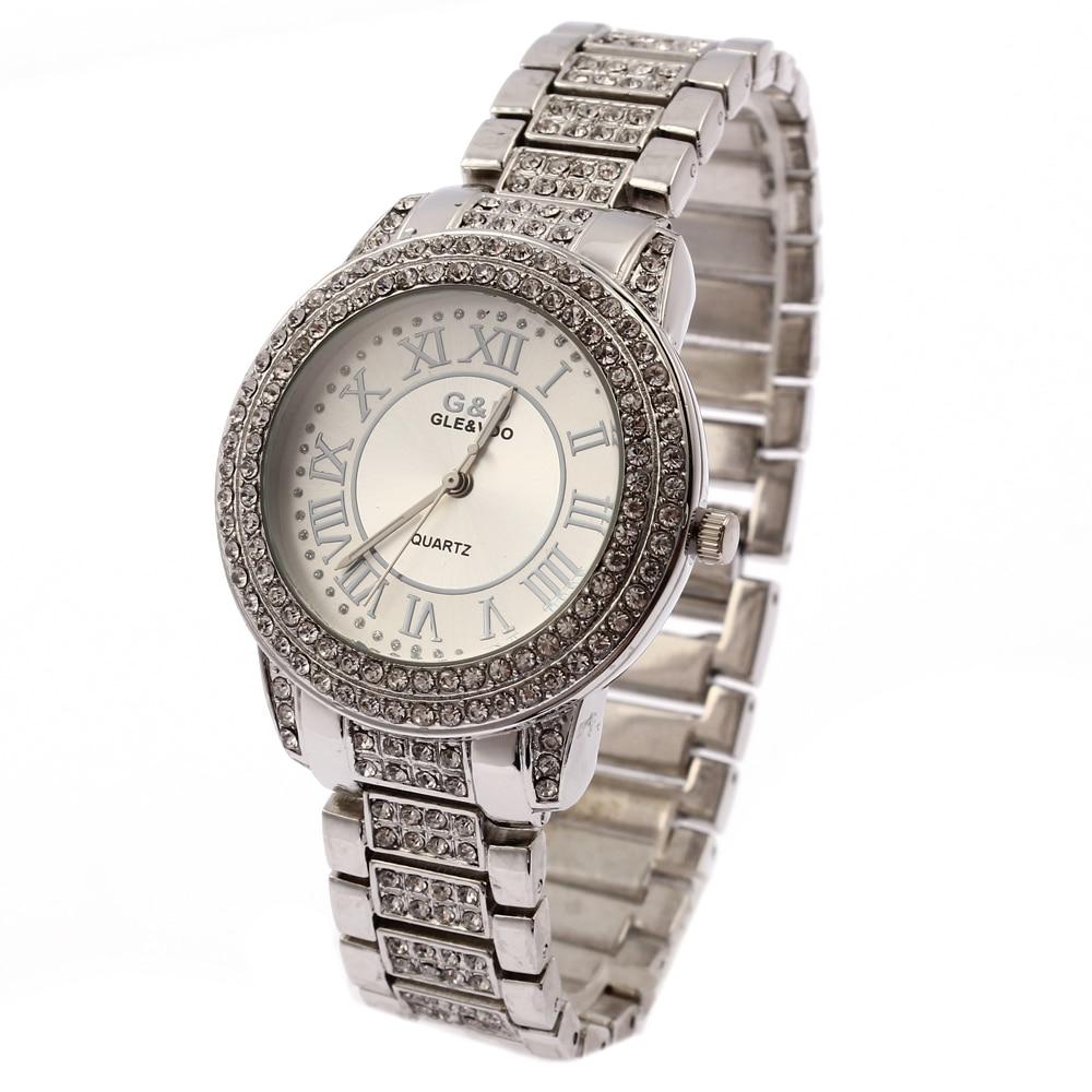 2018 새로운 G & D 여성 시계 실버 스테인리스 밴드 패션 캐주얼 여성 석 영 손목 시계 여자 상위 브랜드 시계 시계