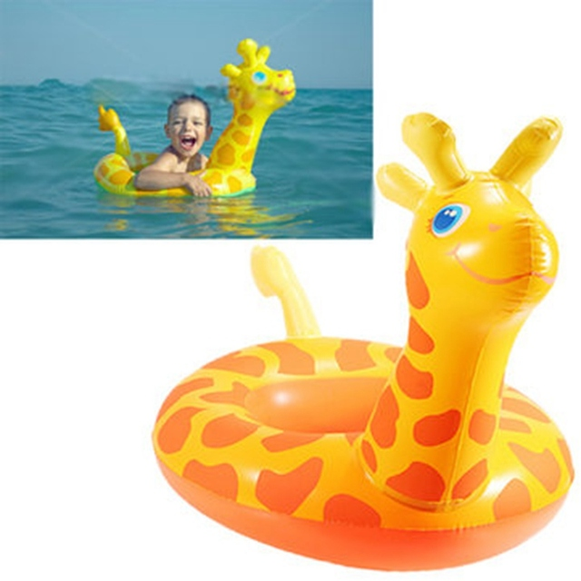 High Quality Cartoon Giraffe Seat Child Swim Ring Inflatable Boat Swimming Toy Inflatable  Floating Swimming Pool Raft Chair