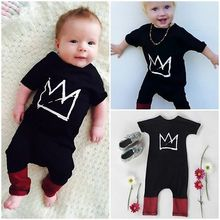 Newborn kids Crown printting Romper Toddler Baby Boys Short Sleeve Romper Jumpsuit Clothes Casual