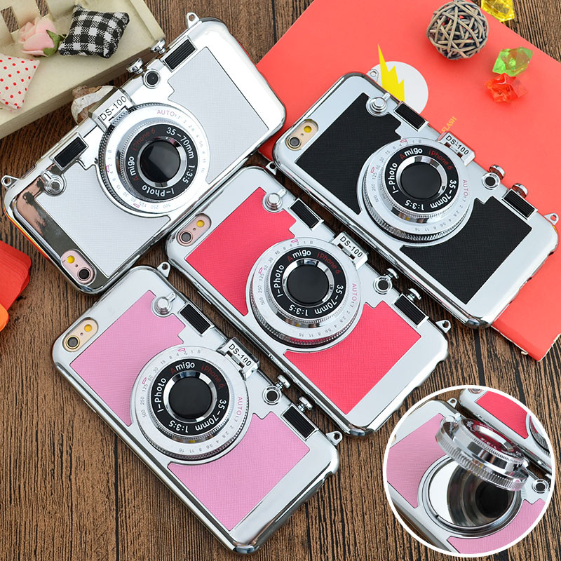 newest 8b281 1e4ae US $8.85 |2016 Korean Style 3D Camera Neck Strap Phone Case For 5 5S SE  iPhone 7 Plus 6 6S Plus Stand Case With Mirror For Samsung S7 Edge on ...