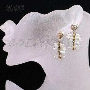 Image 4 - 3 Pairs Natuurlijke parels oorbellen Goud kleur plated parels sieraden parels oorbellen gift voor lady elegant earring voor lady9239