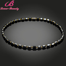 Lover Beauty Black Color Statement Choker Necklace 46CM Stainless Steel Magnetic Health Care Necklaces Men Jewelry -E