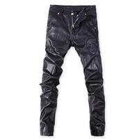 Korean Punk rock trousers Black Tight Faux leather pants for men Plus size 32 33 34 36 Skull Skinny slim