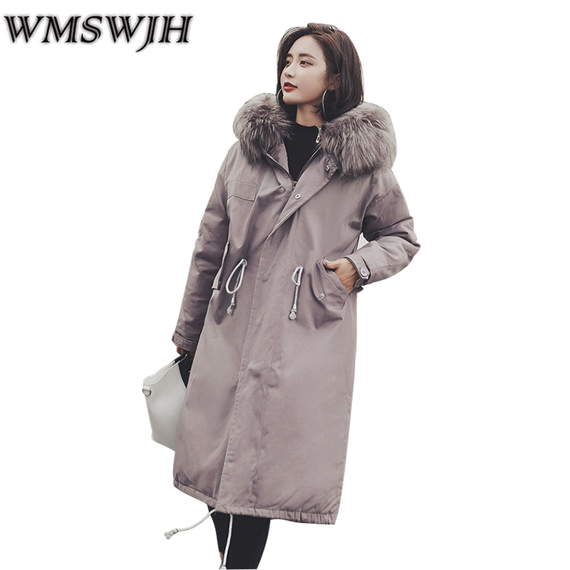 2017New Women winter cotton jacket Long section hooded fur collar Overcoat Loose large yards warm Parka outerweer Female WS313 women winter coat leisure big yards hooded fur collar jacket thick warm cotton parkas new style female students overcoat ok238