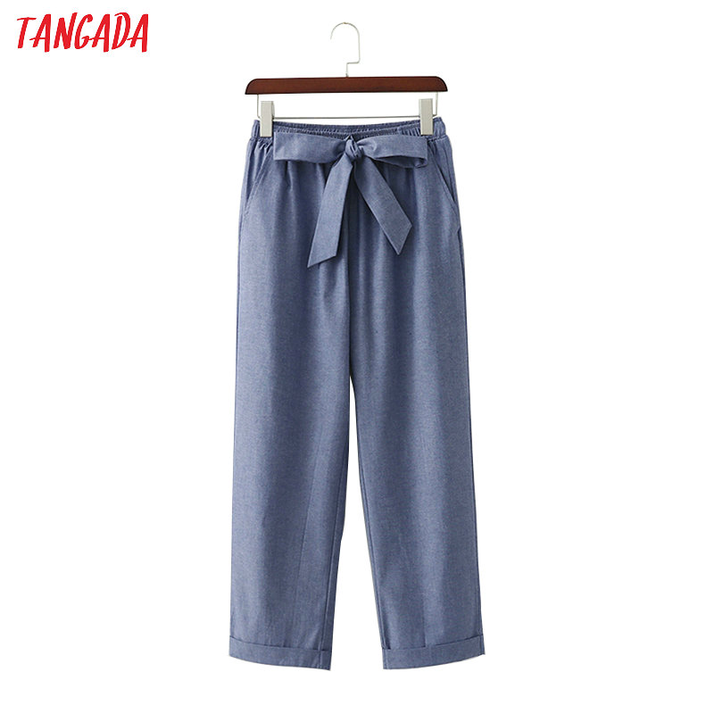 Tangada Women Cotton Linen Wide Leg Pants Bow Tie Elastic Waist Pockets Ankle Length Trousers Female Chic Pantalones 1D278