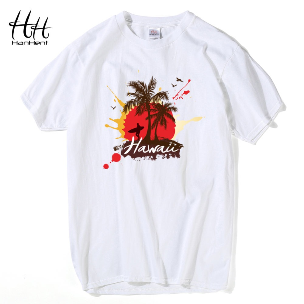 Plain white shirts cheapest t shirt jpg - Hanhent Hawaii Coconut Trees Man T Shirts Summer Short Sleeve Cotton Tshirts Casual Streetwear Fashion Skateboard