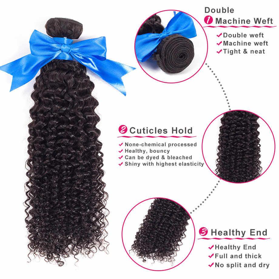 Bling волос странный вьющиеся волосы пучки бразильских локонов Weave Связки 100% Пряди человеческих волос для наращивания 1/3/4 шт не Реми естественный Цвет