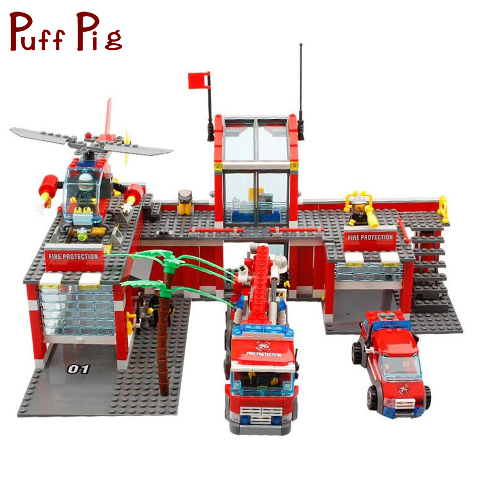 774pcs Fire Station Helicopter Cars Trucks Building Blocks Compatible Legoed City Firefighter Figures Educational Children Toys kazi new 774pcs city fire station truck helicopter firefighter minis building blocks bricks toys brinquedos toys for children